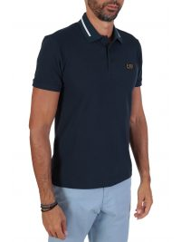 EMPORIO ARMANI POLO PIMA COTTON GOLD LOGO ΜΠΛΕ