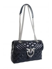 PINKO ΤΣΑΝΤΑ  LOVE CLASSIC PUFF MIXY CL DARK INDIGO BLUE ΑΛΥΣΙΔΑ BIRDS ΜΠΛΕ