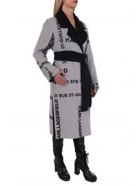 KARL LAGERFELD ΠΑΛΤΟ PRINTED DOUBLE FACED COAT ΖΩΝΗ ΓΚΡΙ