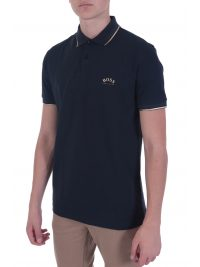 BOSS ATHLEISURE POLO SLIM FIT PAUL CURVED BLACK GOLD CAPSULE ΜΠΛΕ