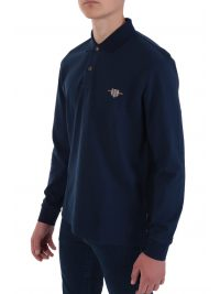 NAVY&GREEN POLO ΜΟΝΟΧΡΩΜΟ YOUNG LINE TWO PLY ΜΠΛΕ