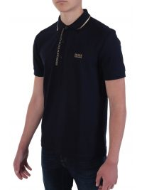 BOSS ATHLEISURE POLO PAULE 4  BLUE GOLD CAPSULE SLIM FIT PIMA COTTON ΜΠΛΕ