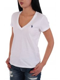 RALPH LAUREN T- SHIRT  KM V-NECK ΛΕΥΚΟ