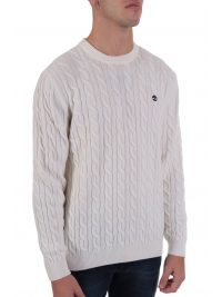 TIMBERLAND ΠΛΕΚΤΟ CREW NECK CABLE LAMBSWOOL  LOGO BLEND ΥΠΟΛΕΥΚΟ