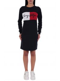 TOMMY HILFIGER ΦΟΡΕΜΑ MOCK NECK DRESS  LS LOGO  ΜΠΛΕ