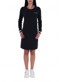 TOMMY HILFIGER ΦΟΡΕΜΑ  TRIM DETAIL C-NECK DRESS LS ΜΠΛΕ