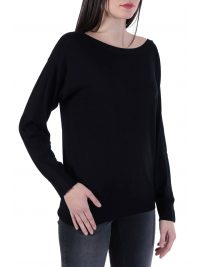 TRUSSARDI  ΠΛΕΚΤΟ ΜΜ SWEATER BOATNECK VISCOSE STRECH ΜΑΥΡΟ