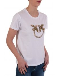 PINKO T-SHIRT QUENTIN 1 JERSEY DI COTONE BIRDS STRASS ΛΕΥΚΟ