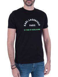 KARL LAGERFELD T-SHIRT  LOGO 21RUE ST-GUILLAUME  ΜΑΥΡΟ