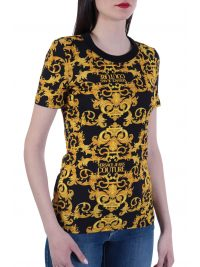 VERSACE T-SHIRT STRETCH LOGO BAROQUE ΜΑΥΡΟ