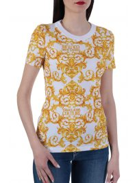 VERSACE T-SHIRT STRETCH LOGO BAROQUE ΛΕΥΚΟ