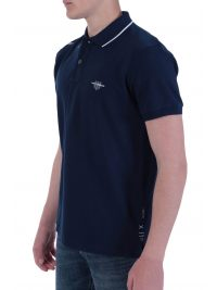 NAVY&GREEN POLO ΠΙΚΕ  YOUNG LINE STRETCH ΜΠΛΕ