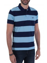 NAVY&GREEN POLO ΡΙΓΕ YOUNG LINE TWO PLY ΜΠΛΕ - ΣΙΕΛ