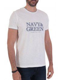 NAVY&GREEN T-SHIRT ΜΕ ΤΥΠΩΜΑ ΛΕΥΚΟ