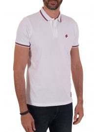 SUPERDRY POLO PIQUE SPORTSTYLE TWIN TIPPED ΛΕΥΚΟ