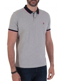 SUPERDRY POLO PIQUE SPORTSTYLE TWIN TIPPED ΓΚΡΙ