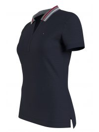 TOMMY HILFIGER POLO V-NECK SLIM TIPPING POLO ΜΠΛΕ