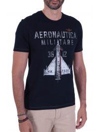 AERONAUTICA MILITARE T-SHIRT LOGO  36 12 ΜΠΛΕ