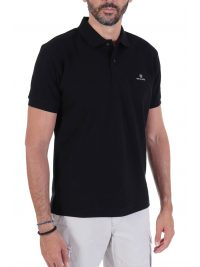 NAVY&GREEN POLO ΠΙΚΕ CUSTOM FIT TWO PLY ΜΑΥΡΟ