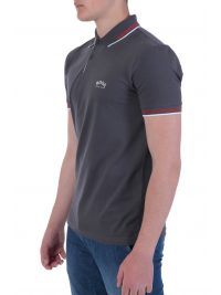 BOSS ATHLEISURE POLO SLIM FIT PAUL CURVED ΓΚΡΙ
