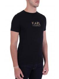 KARL LAGERFELD T-SHIRT GOLD LOGO ΜΑΥΡΟ