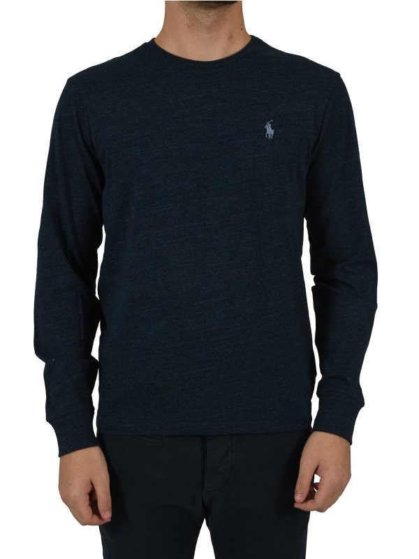 RALPH LAUREN TSHIRT MM CUSTOM SLIM FIT ΜΕΛΑΝΖΕ ΜΠΛΕ