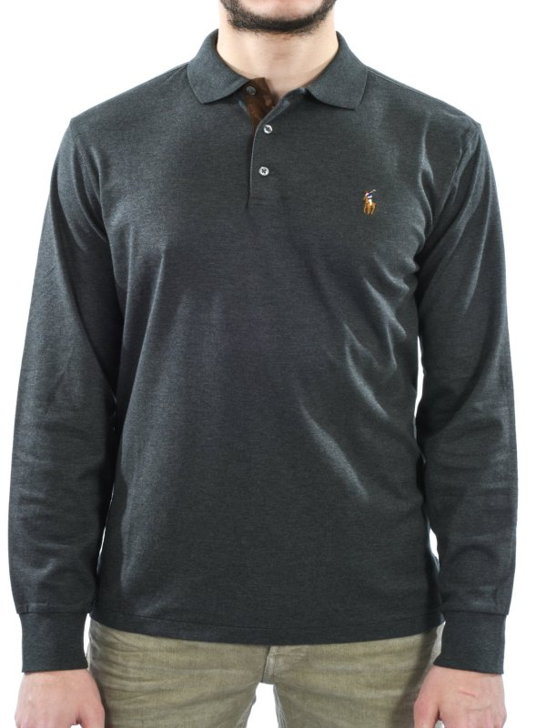 RALPH LAUREN POLO ΜΜ ΜΑΚΩ CUSTOM SLIM FIT ΓΚΡΙ