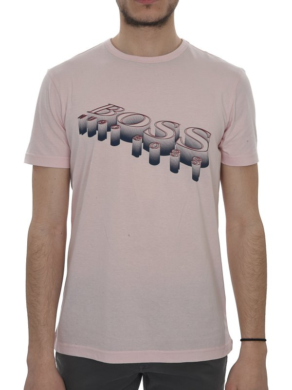 BOSS ATHLEISURE T-SHIRT KM  TEE2 ΡΟΖ