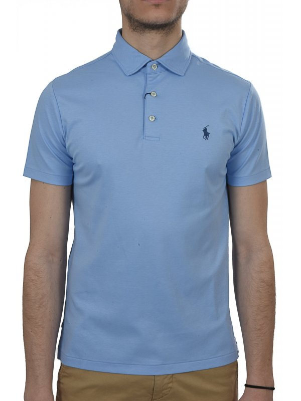 RALPH LAUREN  POLO KM CUSTOM SLIM FIT ΣΙΕΛ