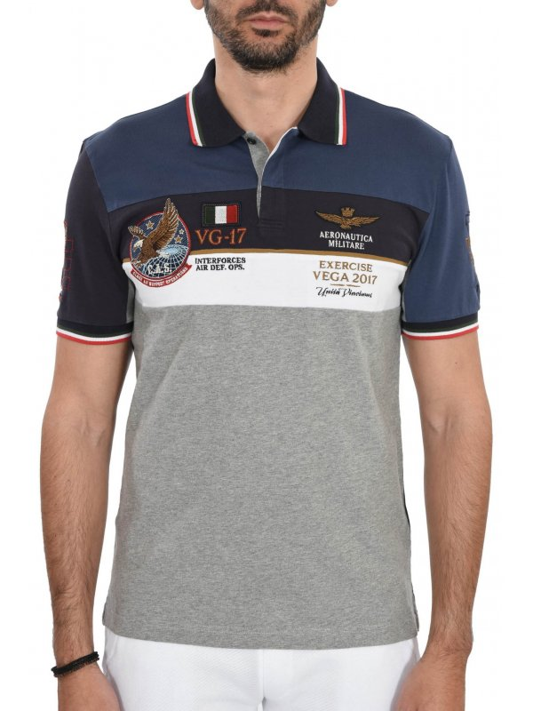 a00641a704 AERONAUTICA MILITARE POLO REGULAR FIT LOGO VEG 2017 ΓΚΡΙ-ΜΠΛΕ-ΛΕΥΚΟ ...