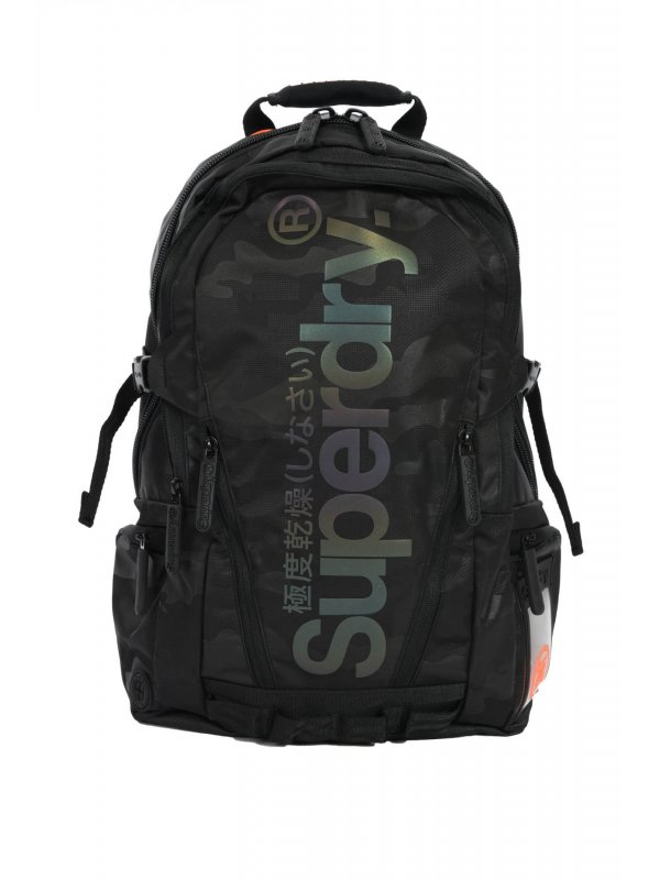 SUPERDRY ΤΣΑΝΤΑ BACKPACK CAMO REFLECTIVE TRAP ΜΑΥΡΟ