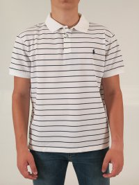 RALPH LAUREN RALPH LAUREN POLO KM SLIM FIT ΡΙΓΕ STRETCH MESH ΛΕΥΚΟ