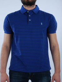 RALPH LAUREN RALPH LAUREN POLO KM SLIM FIT ΡΙΓΕ STRETCH MESH ΜΠΛΕ