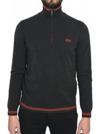 BOSS ATHLEISURE BOSS ATHLEISURE  ΠΛΕΚΤΟ HALF ZIP ZOMEX W18 ΓΚΡΙ