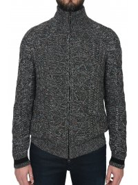 BOSS CASUAL BOSS CASUAL ΠΛΕΚΤΟ FULLZIP KARDIGAN MULTI ΓΚΡΙ