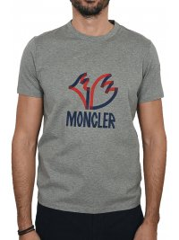 MONCLER MONCLER T-SHIRT LOGO ΓΚΡΙ