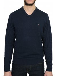 TOMMY HILFIGER TOMMY HILFIGER ΠΛΕΚΤΟ V-NECK PIMA COTTON CASHMERE ΜΠΛΕ
