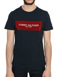 TOMMY HILFIGER TOMMY HILFIGER TSHIRT ΚΜ ΣΤΑΜΠΑ ΜΠΛΕ