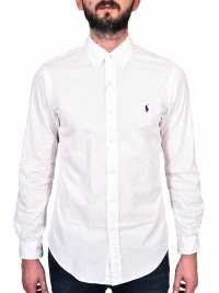 RALPH LAUREN RALPH LAUREN ΠΟΥΚΑΜΙΣΟ BUTTON DOWN SLIM FIT FEATHER WEIGHT TWILL ΛΕΥΚΟ