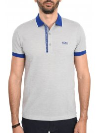 BOSS ATHLEISURE BOSS ATHLEISURE POLO PAUL 4 SLIM FIT  PIMA COTTON ΜΠΛΕ-ΓΚΡΙ
