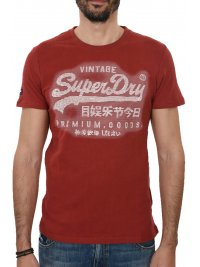 SUPERDRY SUPERDRY T-SHIRT ΚΜ ΣΤΑΜΠΑ ΚΟΚΚΙΝΟ