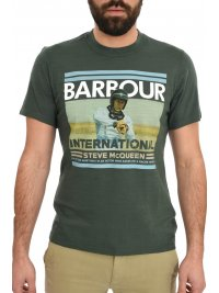 BARBOUR BARBOUR STEVE McQUEEN T-SHIRT RACER/ACTOR ΦΛΑΜΜΑ ΧΑΚΙ