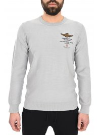 AERONAUTICA MILITARE AERONAUTICA MILITARE ΠΛΕΚΤΟ ROUND NECK REGULAR FIT LOGO ΓΚΡΙ