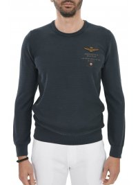 AERONAUTICA MILITARE AERONAUTICA MILITARE ΠΛΕΚΤΟ ROUND NECK REGULAR FIT LOGO ΜΠΛΕ