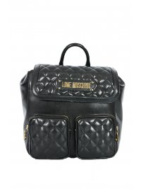 LOVE MOSCHINO LOVE MOSCHINO ΤΣΑΝΤΑ BACKPACK ΚΑΠΙΤΟΝΕ ΜΠΡΟΣΤΑ 2ΘΗΚΕΣ ΜΑΥΡΟ