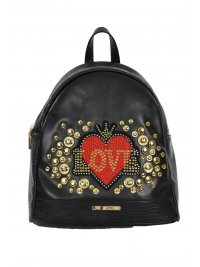 LOVE MOSCHINO LOVE MOSCHINO ΤΣΑΝΤΑ BACKPACK ΜΟΤΙΒΟ ΚΟΚΚΙΝΗ ΚΑΡΔΙΑ ΜΕ ΣΤΡΑΣΣ ΚΑΙ ΤΡΟΥΚΣ ΜΑΥΡΟ