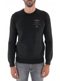 AERONAUTICA MILITARE AERONAUTICA MILITARE ΠΛΕΚΤΟ ROUND NECK REGULAR FIT LOGO ΜΑΥΡΟ