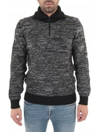 BOSS CASUAL BOSS CASUAL ΠΛΕΚΤΟ HALF ZIP TURTLE NECK AKUANES ΓΚΡΙ-ΜΑΥΡΟ