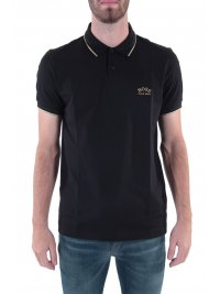 BOSS ATHLEISURE BOSS ATHLEISURE POLO SLIM FIT PAUL CURVED BLACK GOLD CAPSULE ΜΑΥΡΟ