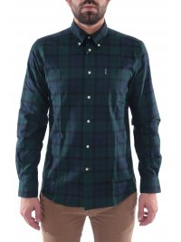 BARBOUR BARBOUR ΠΟΥΚΑΜΙΣΟ WETHERAM BUTTON DOWN TAILORED FIT ΚΑΡΩ ΠΡΑΣΙΝΟ